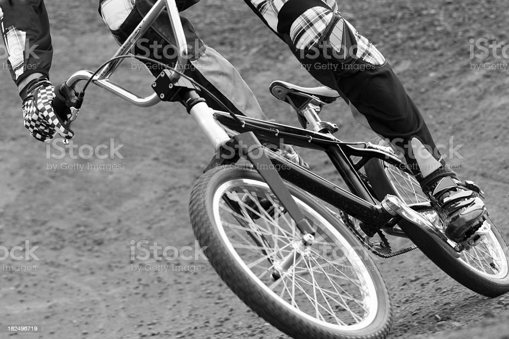 Close-up detail of a bike race stock photo
