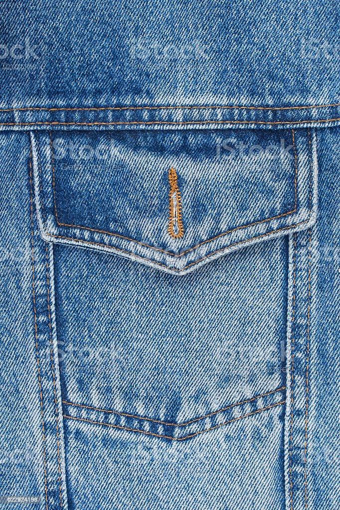 closeup detail of a vintage denim jacket stock photo
