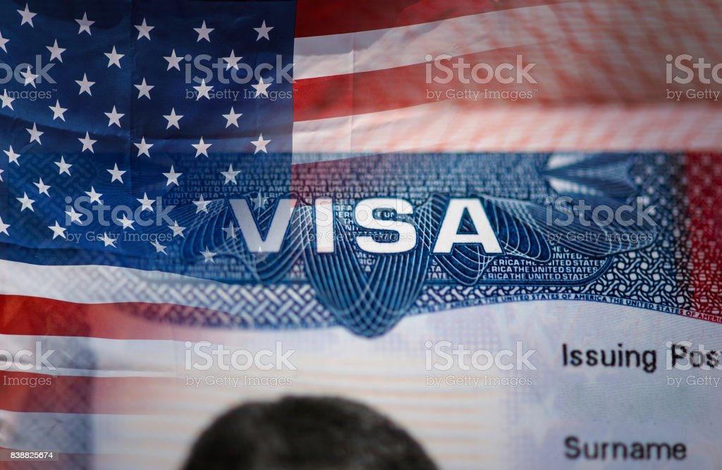 Close-up detail of American VISA stock photo