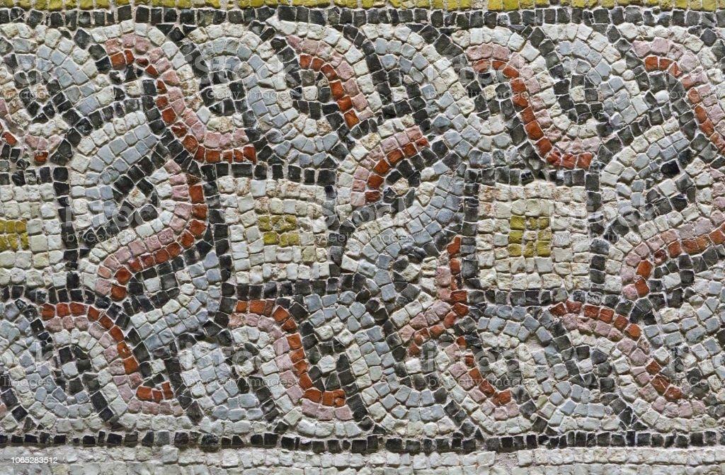 Closeup Detail of an Ancient Mosaic stock photo
