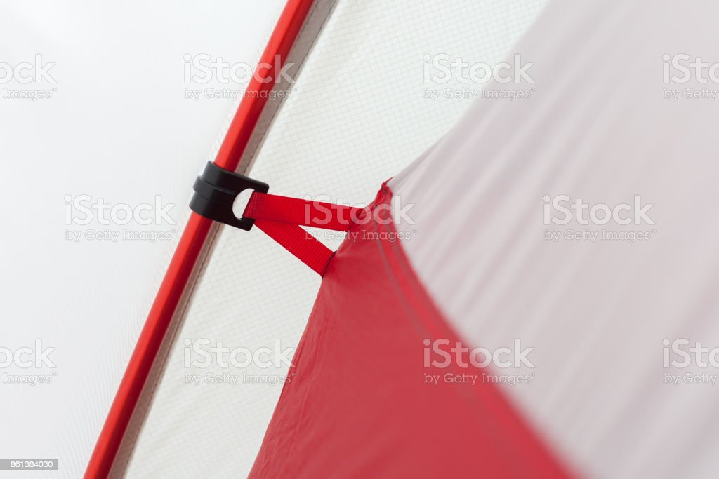 Closeup detail of camping tent. Aluminum Tent Poles and  rainfly stock photo
