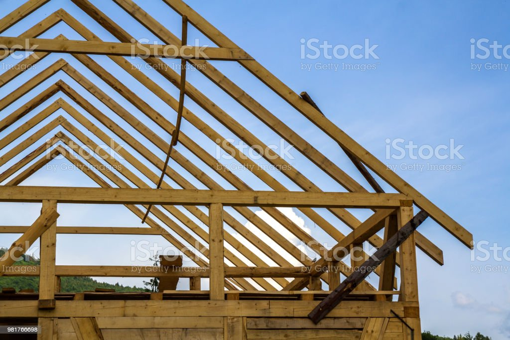 Closeup Detail Of New Wooden House Under Construction Timber Frame
