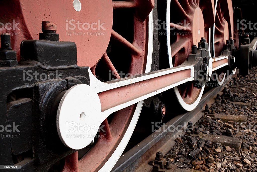 Close-up Detail of Retro Steam Train Wheels stock photo