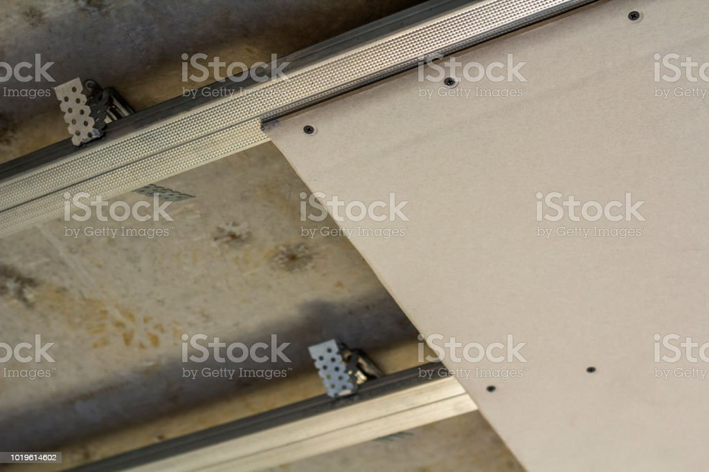 Closeup Detail Of Room Under Construction Suspended Ceiling