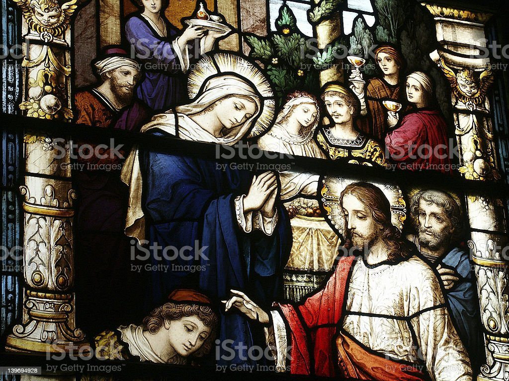 Close-up detail of stained glass window royalty-free stock photo