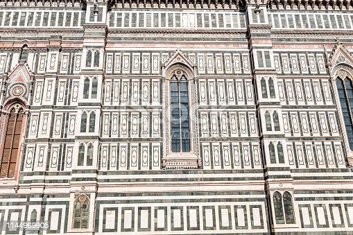 Closeup detail view of the Santa Maria Cathedral in Florence, Italy