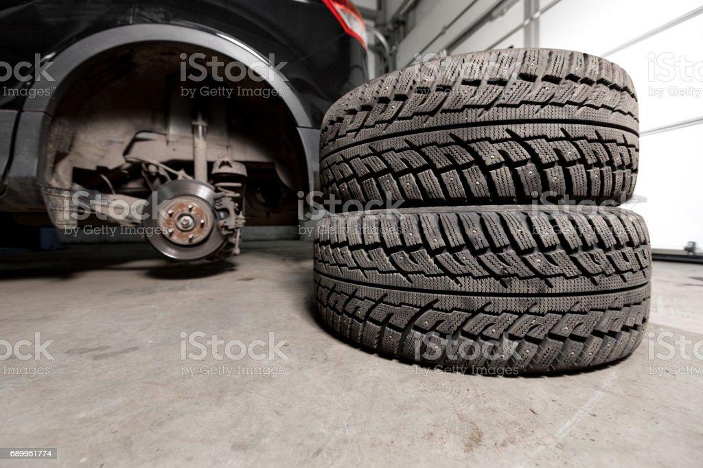 Closeup disc brake of the vehicle for repair. stock photo