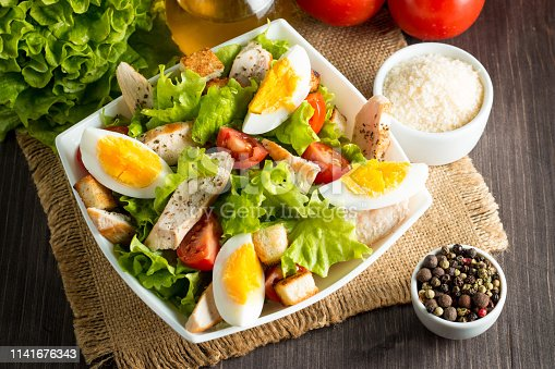 istock closeup, dish, italian, meal, lettuce, pepper, fried, green, view, diet, nuts, salad, poultry, top, roasted, dinner, pine, fillet, rocket, mediterranean, mustard, nutrition, food, sauce, mixed, breast, plate, white, spring, chicken, calories, caesar, herb 1141676343