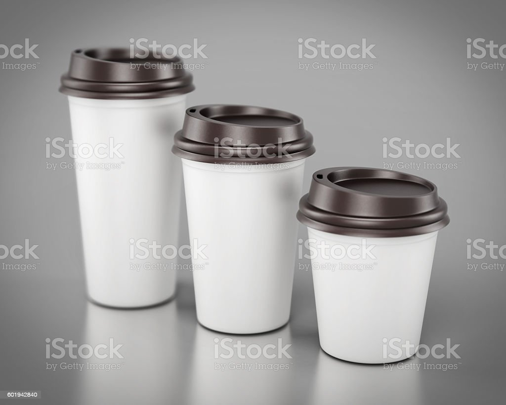 Close-up disposable plastic cups of different sizes. 3d renderin stock photo