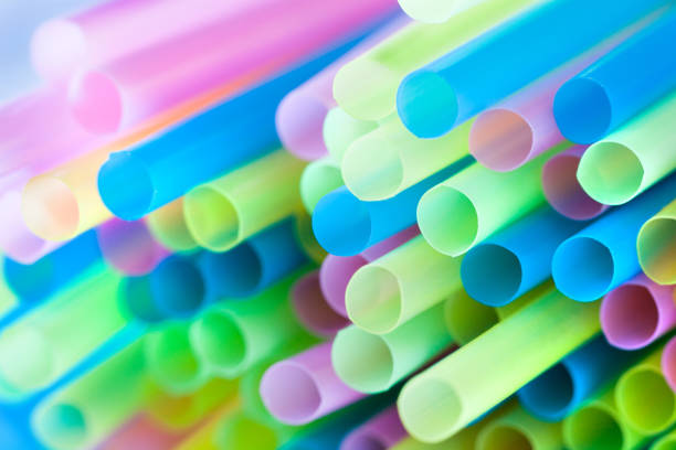 Closeup drinking straws of colorful tubes for cocktail pack – Foto
