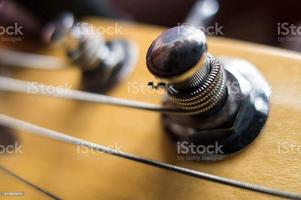Close-up electric guitar headstock stock photo