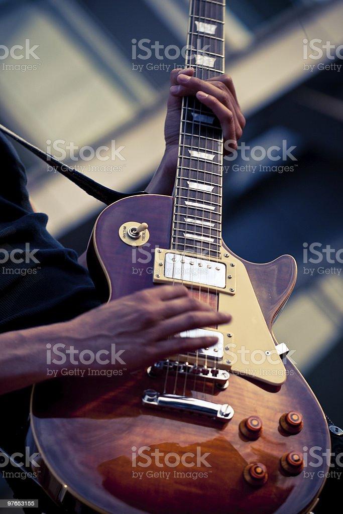 closeup electric guitar stock photo