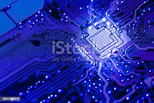 istock Closeup electronic circuit board 594466626