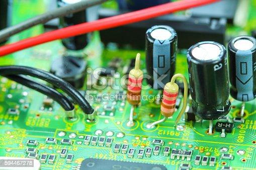 istock Closeup electronic circuit board 594467278