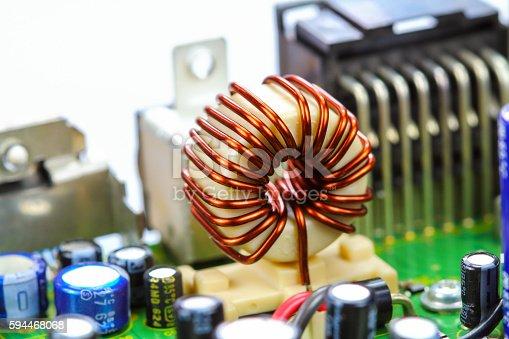 istock Closeup electronic circuit board 594468068