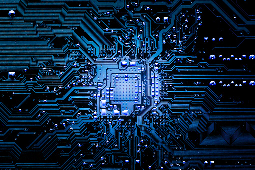 Closeup Electronic Circuit Board Stock Photo - Download Image Now