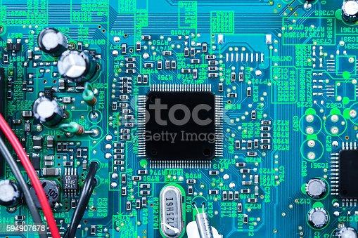 istock Closeup electronic circuit board 594907678