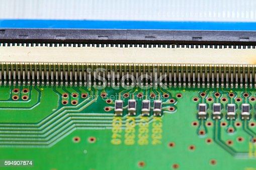 istock Closeup electronic circuit board 594907874