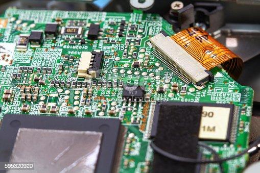 istock Closeup electronic circuit board 595320920
