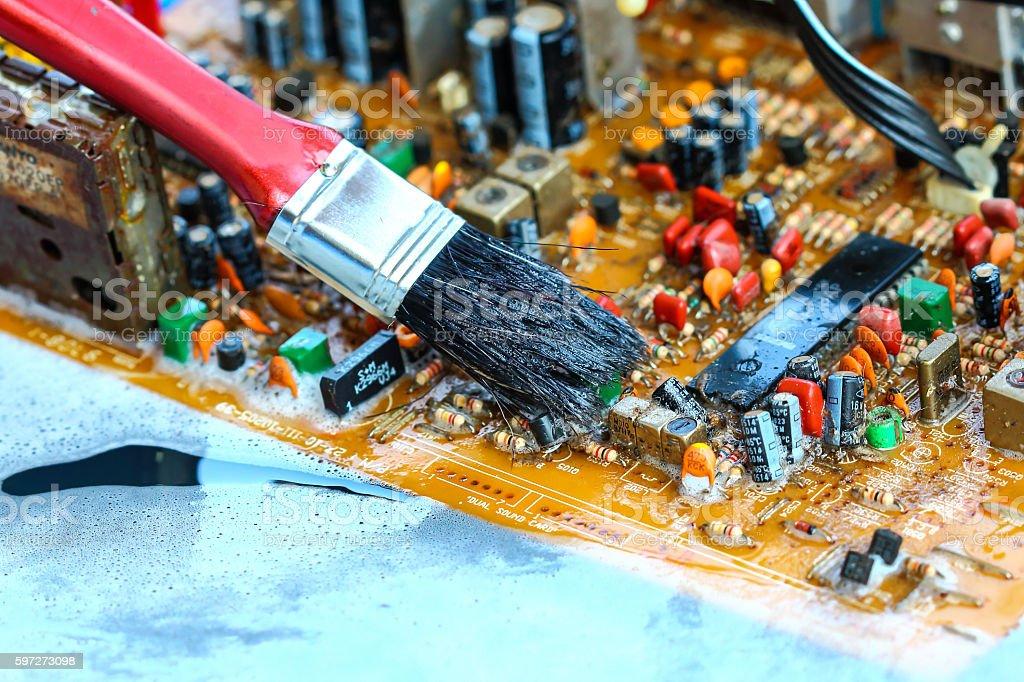 Closeup electronic circuit board Lizenzfreies stock-foto
