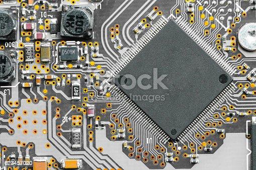 istock Closeup electronic circuit board 623457020