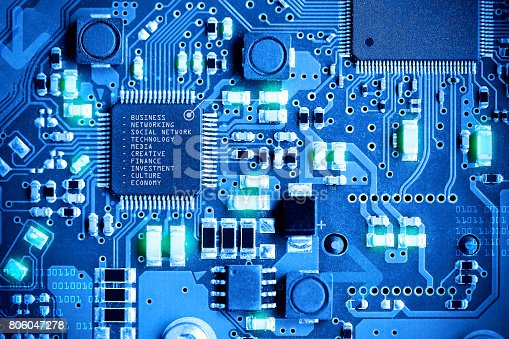 istock Close-up electronic circuit board. technology style concept. 806047278