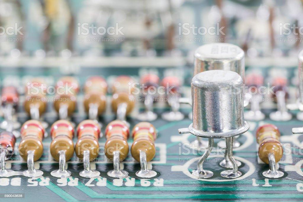 Closeup electronic hardware on the circuit board stock photo
