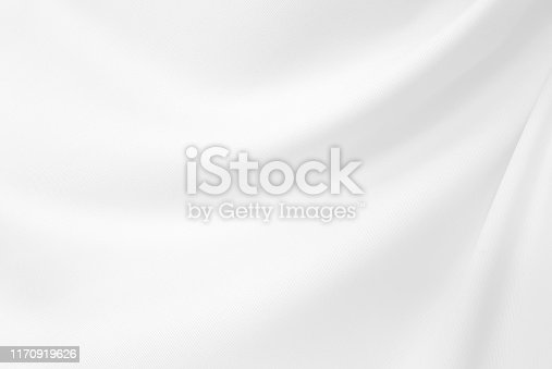 Closeup  elegant crumpled of white silk fabric cloth background and texture. Luxury background design.-Image.