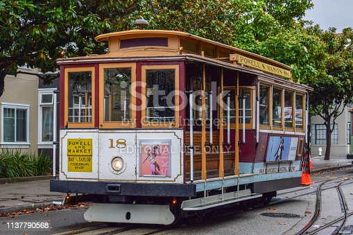 Close-up view of empty Historical Cable Car in Taylor Street, San Francisco, CA on a cloudy day of November.