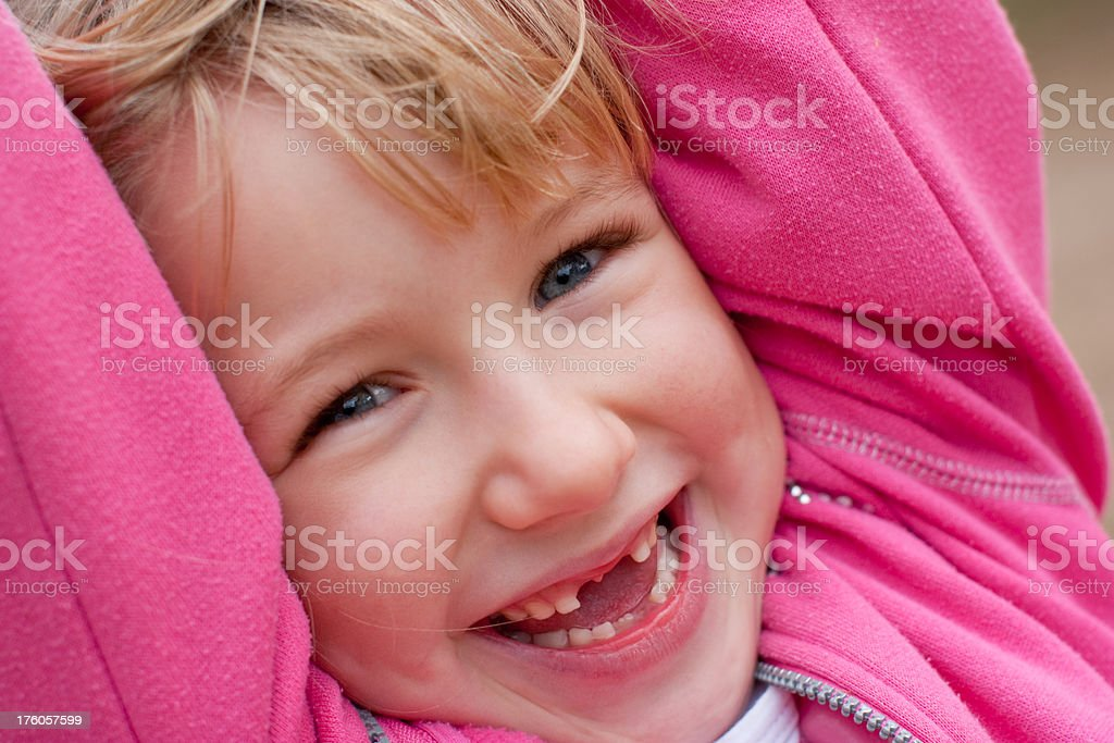 Closeup face happy smiling little girl outdoors swinging outdoors royalty-free stock photo