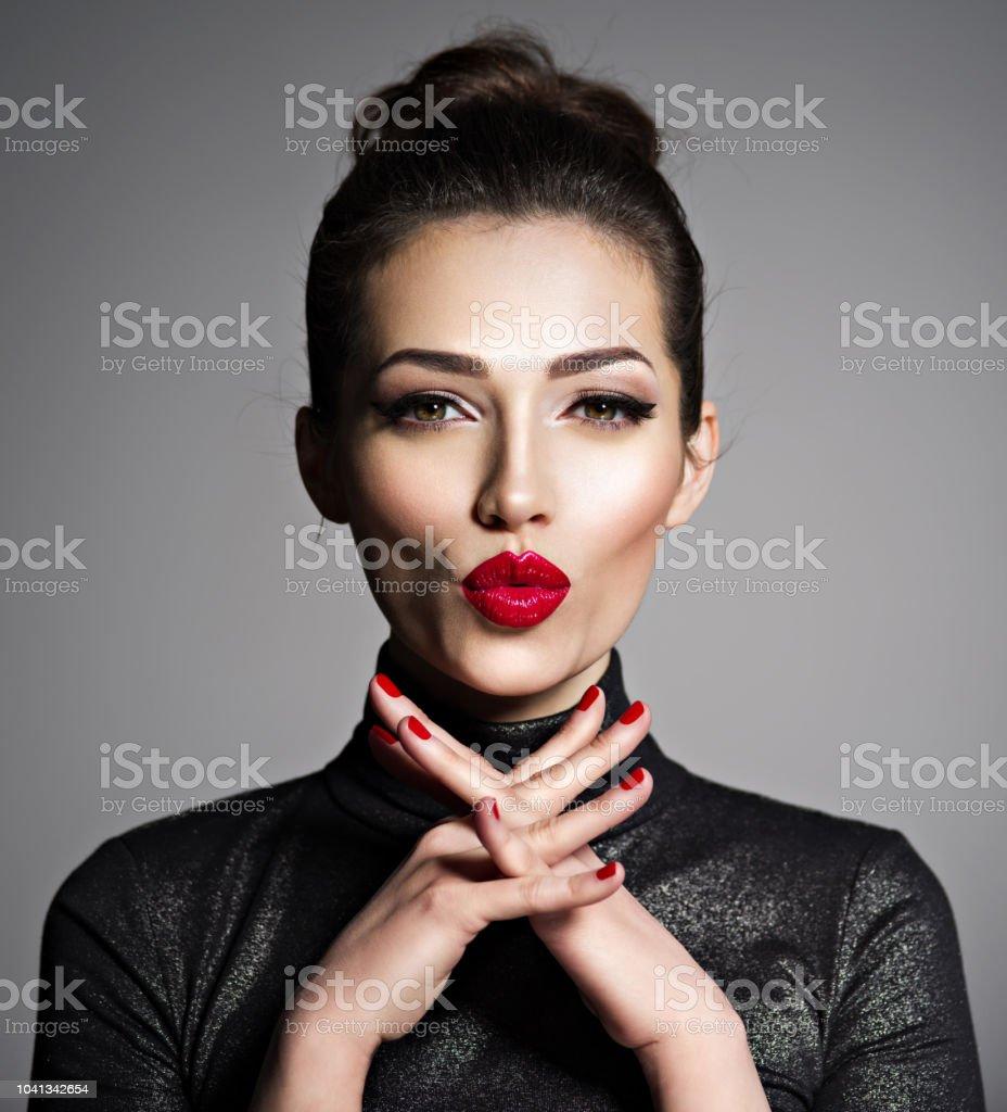Closeup face of an young excited woman. Caucacian young adutl girl...