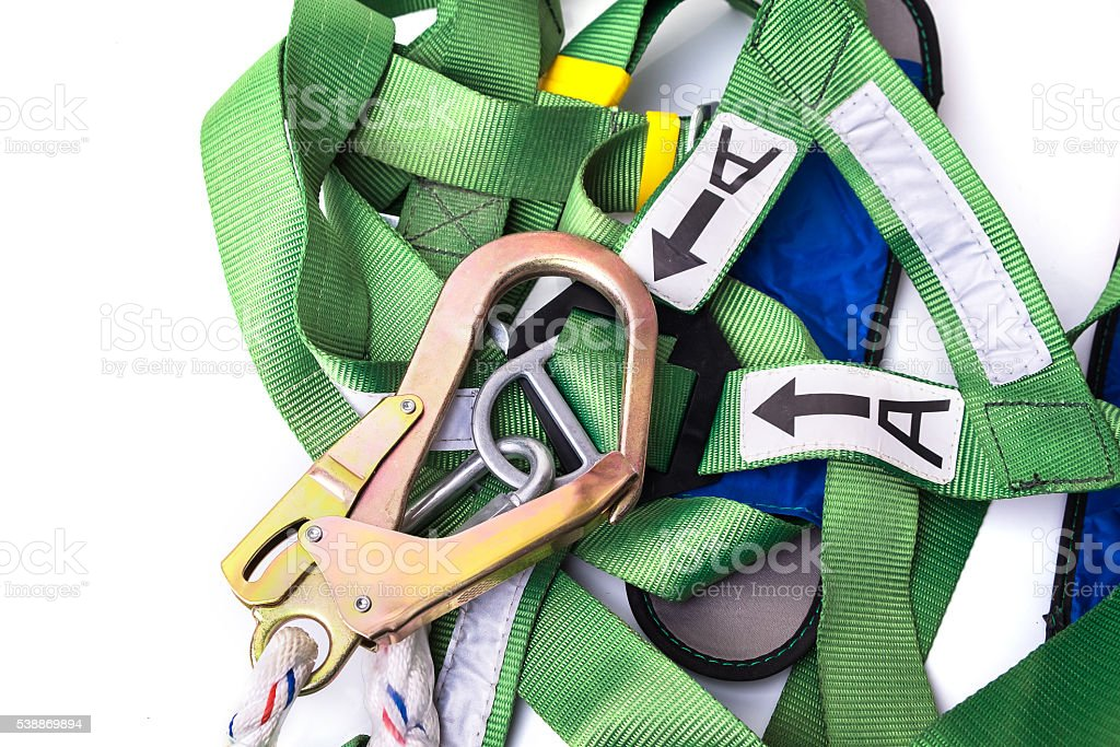Closeup fall protection harness and lanyard for work at heights stock photo