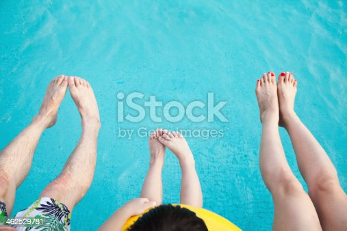 453383283 istock photo Close-up feet on young family in the pool 462529781