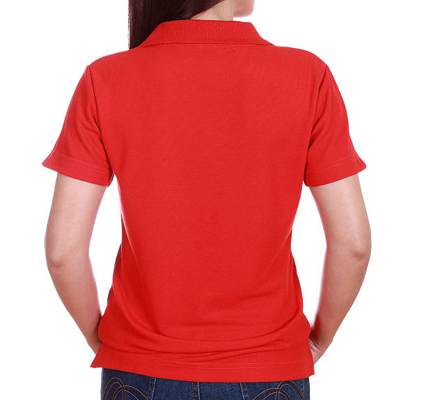 29e56953095f close-up female with blank green polo shirt (back side) stock photo