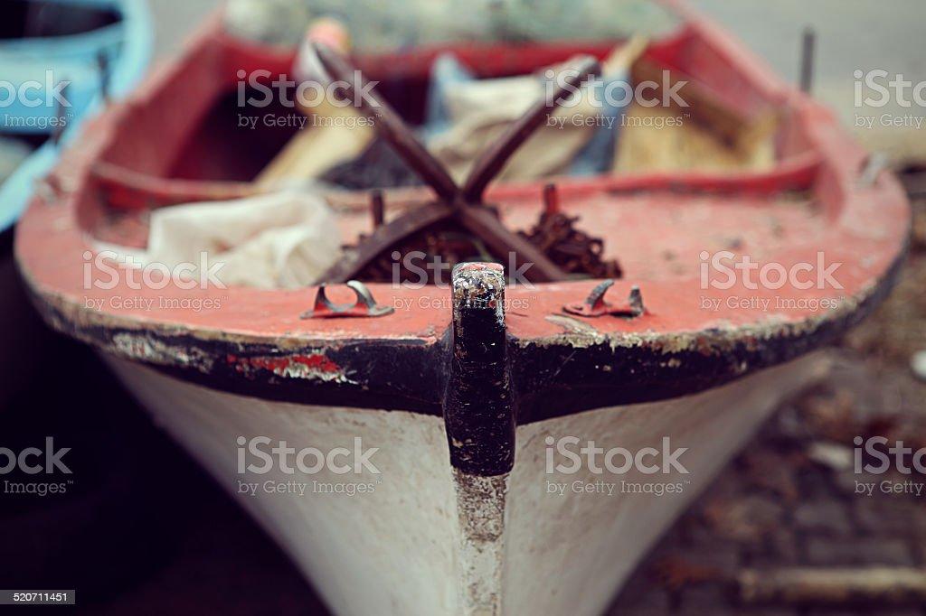 Close-up fishing boat stock photo