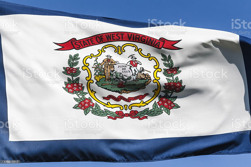 Closeup, Flag of West Virginia stock photo