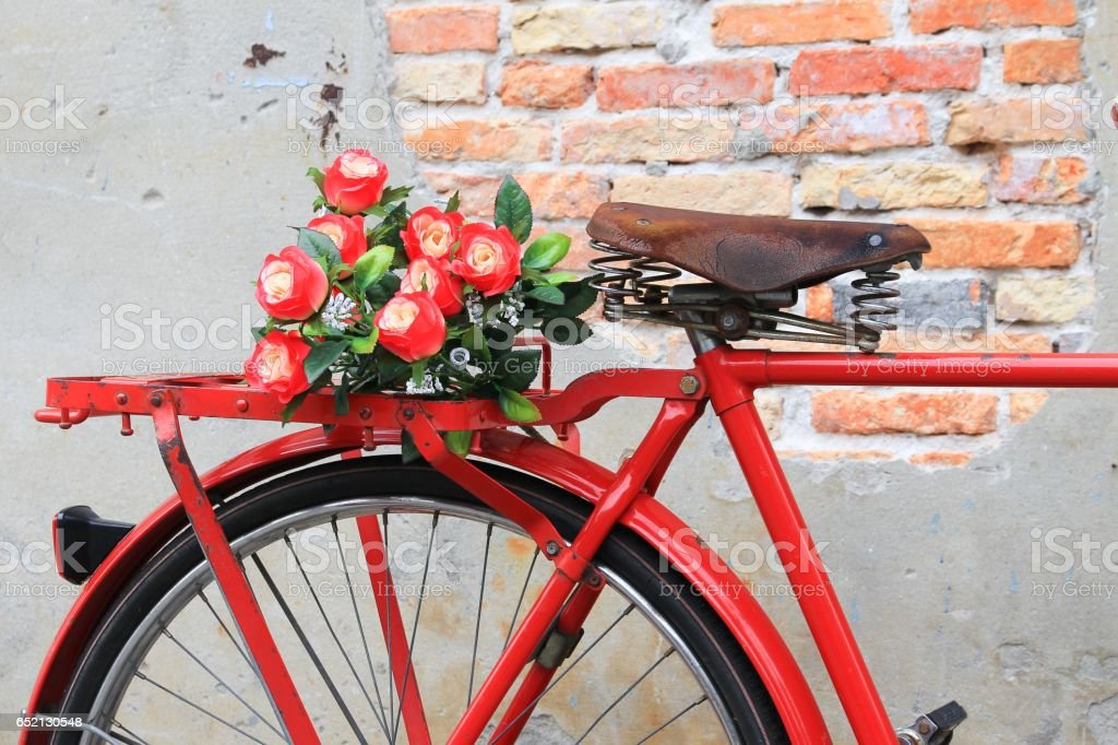 Closeup flower on saddle red bicycle  classic vintage stock photo