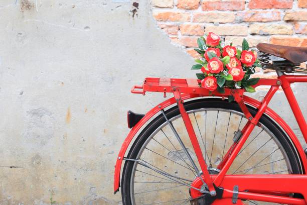 closeup flower on saddle red bicycle  classic vintage - vintage flowers stock photos and pictures
