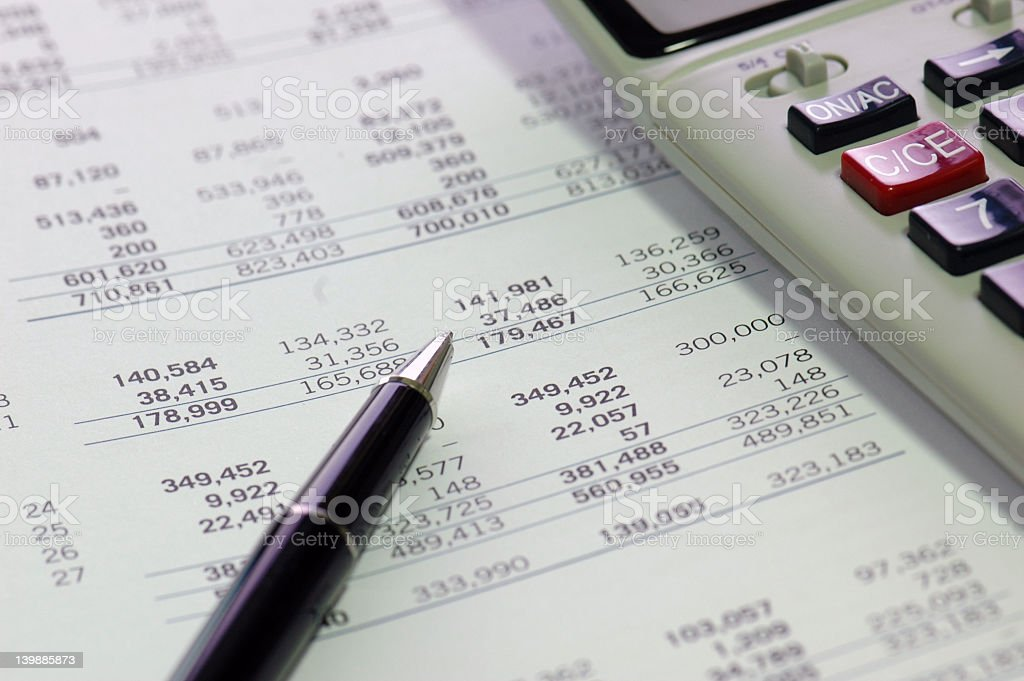 Closeup : Focus on Financial Figures stock photo