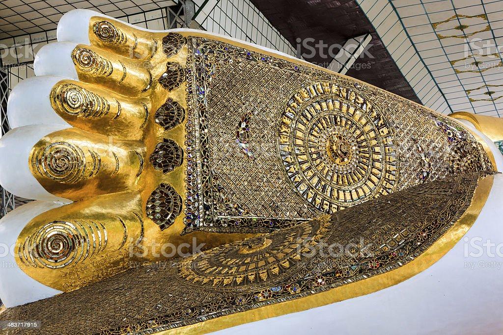 Closeup foot of buddha stock photo