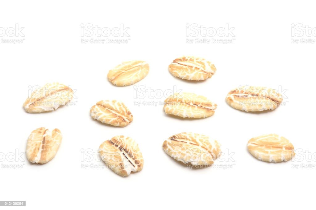 Closeup for oat flakes on white background stock photo