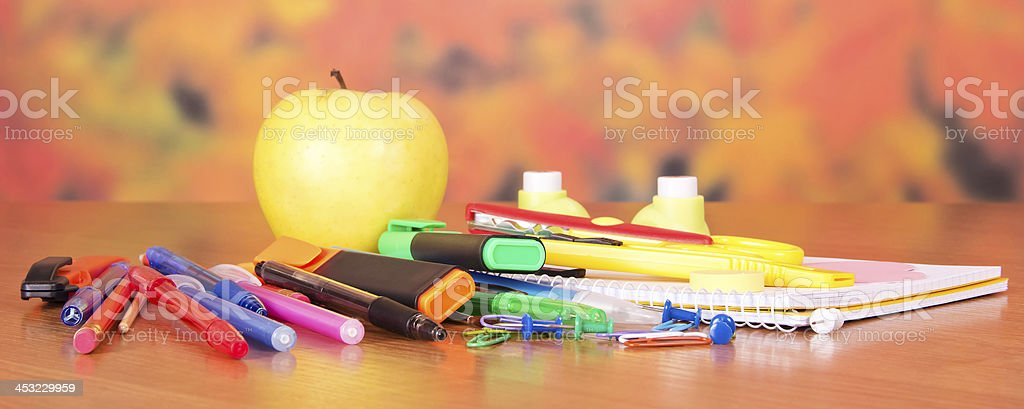 Close-up foto of small school supplies stock photo