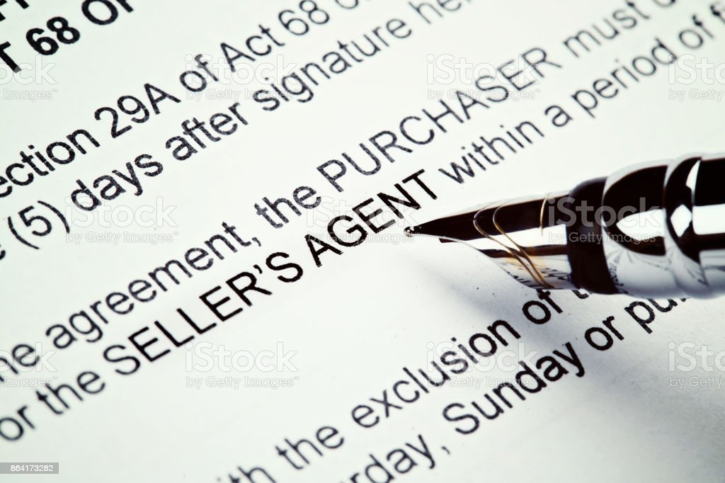 Close-up fountain pen over printed Real Estate form stock photo