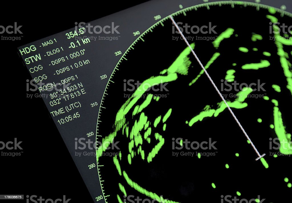 Closeup fragment of ships navigation radar screen royalty-free stock photo