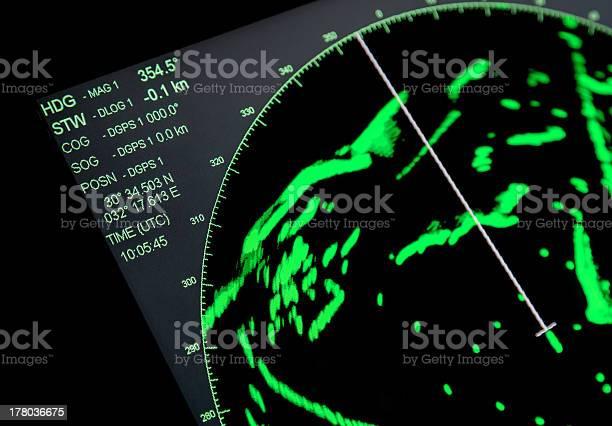 Closeup Fragment Of Ships Navigation Radar Screen Stock Photo - Download Image Now