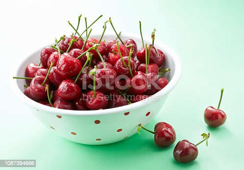 Closeup fresh fruit cherry