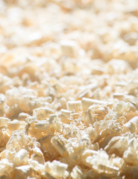 Close-up. Fresh shavings from the plane. stock photo