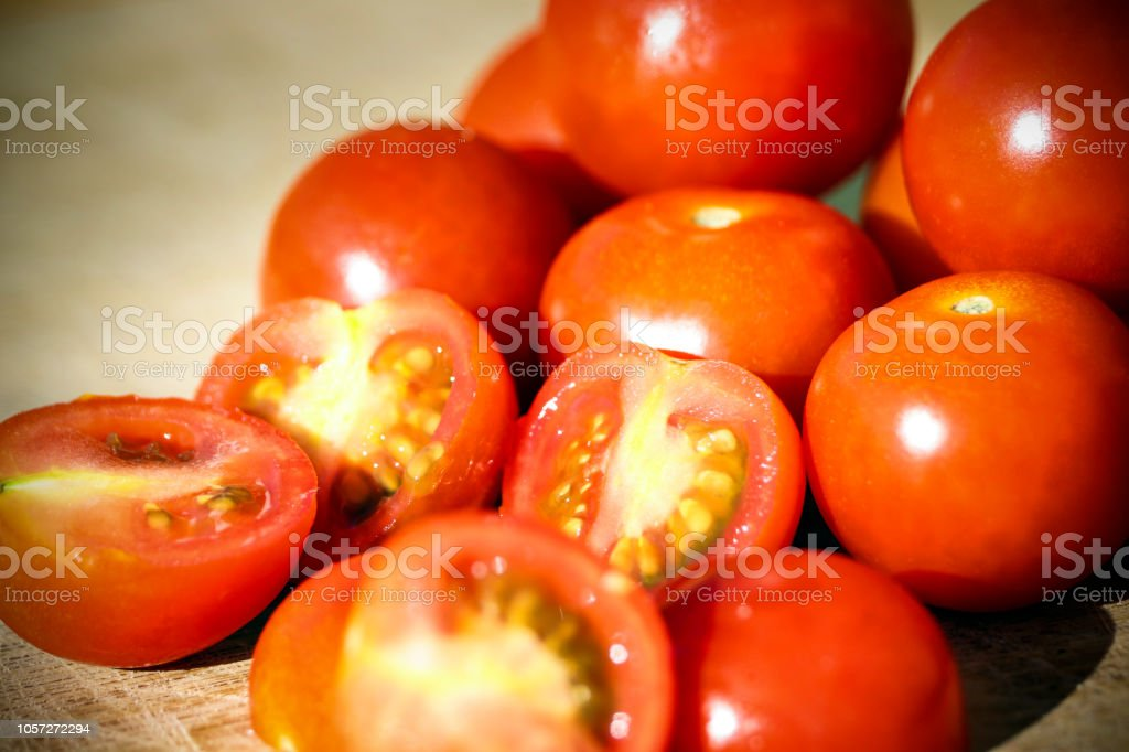 Close-up fresh tomatoes stock photo
