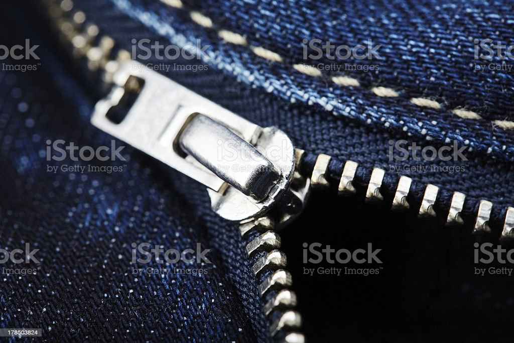 Close-up from blue jeans with zipper stock photo