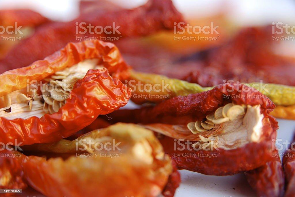 Primo piano in Rosso hot chili peppers secco foto stock royalty-free